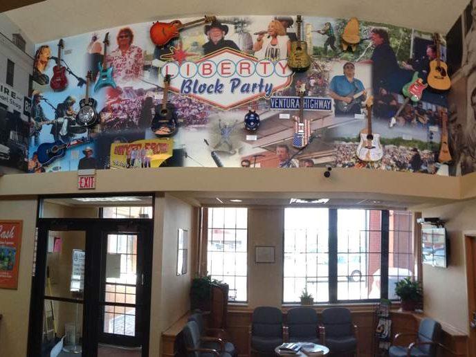 Liberty Bank Guitar Wall Lobby